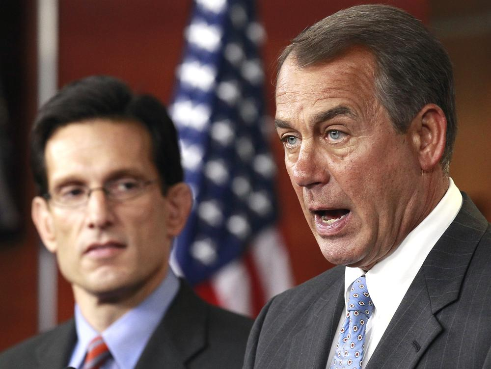 House Speaker John Boehner of Ohio, right, accompanied by House Majority Leader Eric Cantor of Va., speaks to the media about repealing President Barack Obama's health care law on Capitol Hill in Washington. (AP)