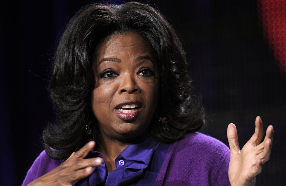 Oprah Winfrey addresses reporters in Pasadena, Calif. (AP)