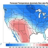 Judah Cohen's winter temperature forecast. (Courtesy Judah Cohen)