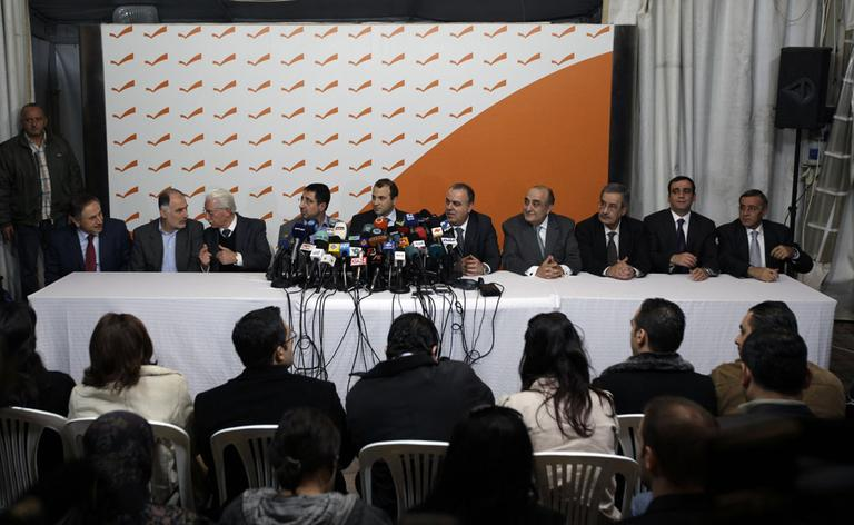 Lebanese Ministers held a press conference yesterday to announce their resignation from the government. (AP)