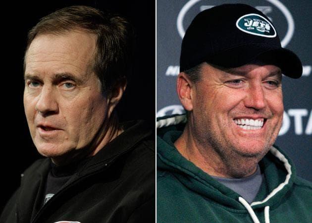 Pats' Bill Belichick, left, and Jets' Rex Ryan (AP)