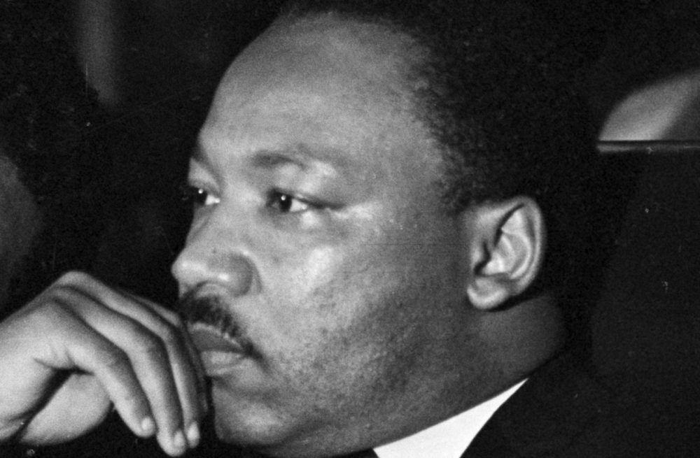 Dr. Martin Luther King, Jr. just prior to his final public appearance to address striking Memphis sanitation workers on April 4, 1968.  King was assassinated later that day outside his motel room.  (AP)