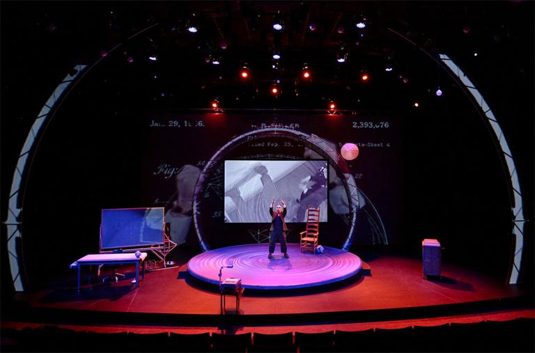 """Thomas Derrah is Bucky in the one-man show """"Buckminster Fuller."""" (Marcus Stern/American Repertory Theatre)"""