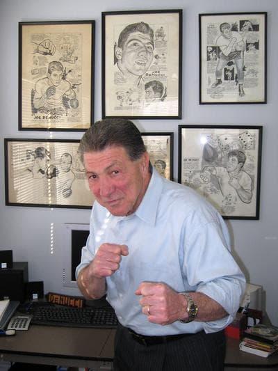 Former Auditor — and boxer — Joe DeNucci in his office (David Boeri/WBUR)