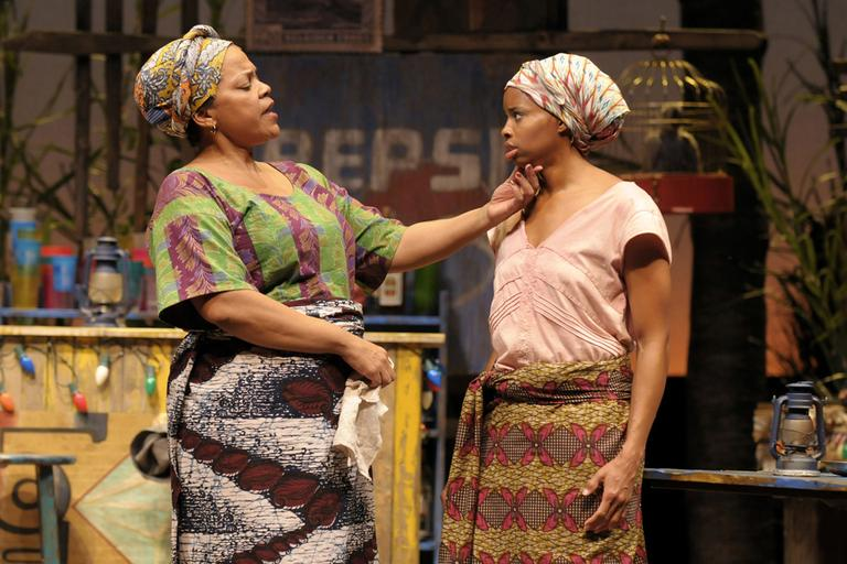 "Tonye Patano and Carla Duren in ""Ruined"" at the Huntington Theatre Company (Kevin Berne/Boston University)"