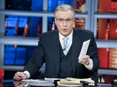 "Keith Olbermann, host of MSNBC's ""Countdown,"" shown during the network's ""Decision 2010"" coverage on Nov. 2. (AP)"