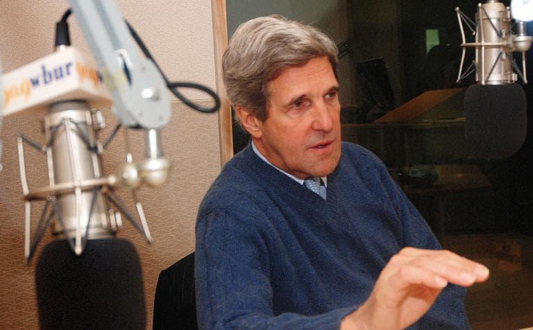 Sen. John Kerry spoke with Radio Boston on Monday in WBUR's studios. (Jesse Costa/WBUR)