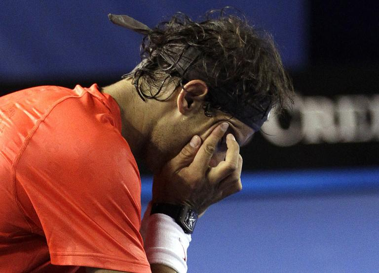 Rafael Nadal tears up during his quarterfinal loss at the Australian Open. (AP)
