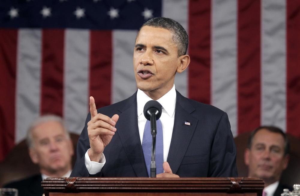 President Barack Obama delivers his State of the Union address on Capitol Hill in Washington.  (AP)