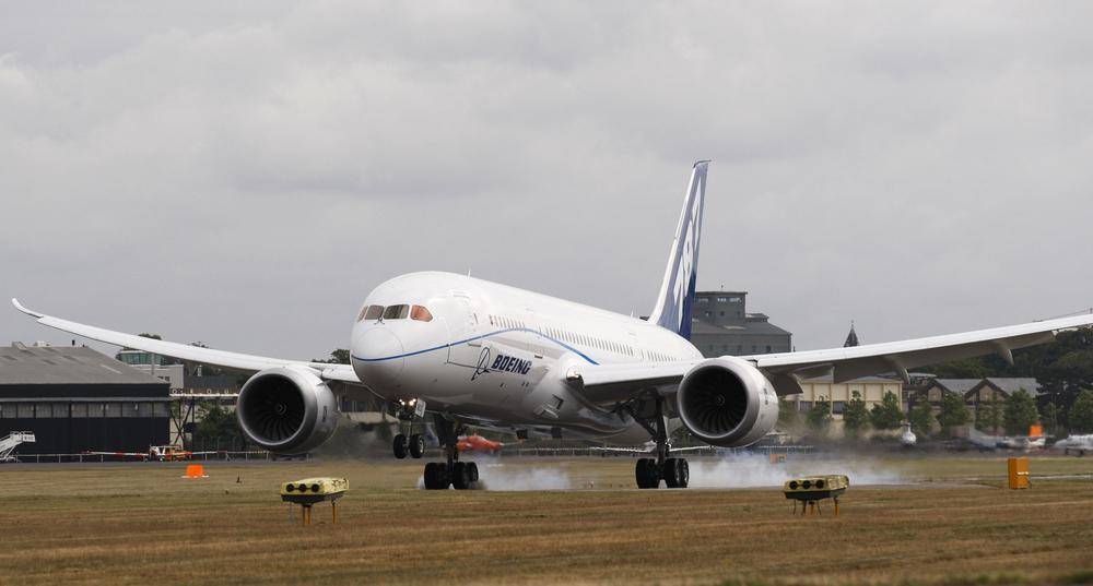 A Boeing 787 Dreamliner at an international airshow in Farnborough, England. (AP)