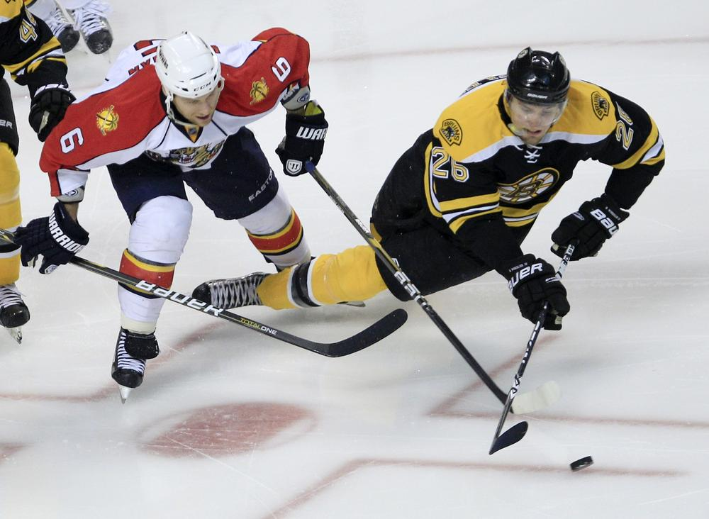 Boston right wing Blake Wheeler, right, get tripped up by Florida Panthers defenseman Dennis Wideman (6) during the third period of the game in Boston on Wednesday. The Bruins beat the Panthers 2-1. (AP)