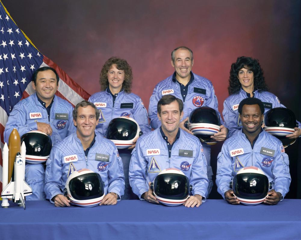 The crew of the Challenger. Christa McAuliffe is back, second from left. Click to enlarge. (AP)