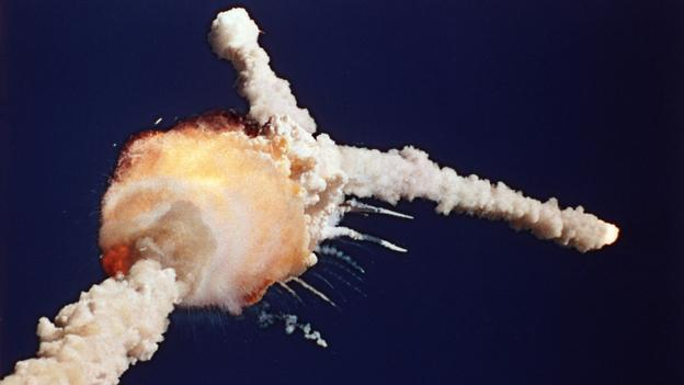 The space shuttle Challenger explodes shortly after lifting off from the Kennedy Space Center in Cape Canaveral, Fla., on Jan. 28, 1986. (AP)
