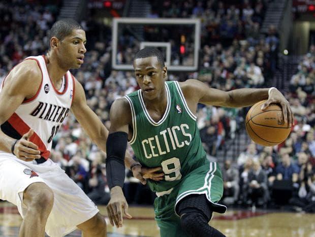 Boston Celtics guard Rajon Rondo drives to the basket Thursday night against Portland. (AP)