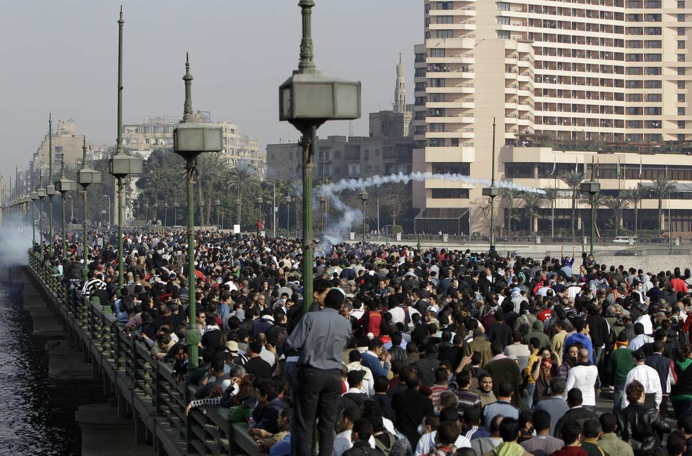 Egyptian anti-government activists protest in Cairo, Egypt. (AP)