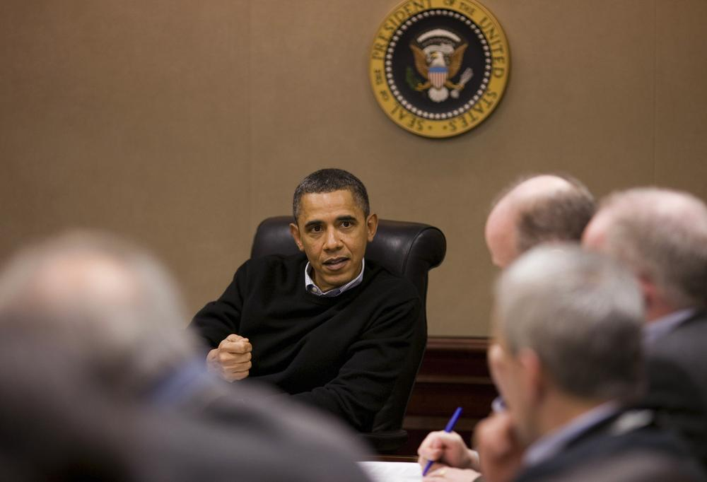 In this photo released by the White House, President Barack Obama is briefed on the events in Egypt by his national security team meeting in the Situation Room of the White House in Washington on Saturday, Jan. 29, 2011. (AP Photo/The White House, Pete Souza)