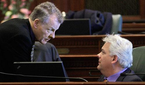 Illinois House Speaker Michael Madigan, D-Chicago, left, and Rep. Jack D. Franks, D-Woodstock, right, at the State Capitol in Springfield, Ill., Jan. 13, 2011. (AP)