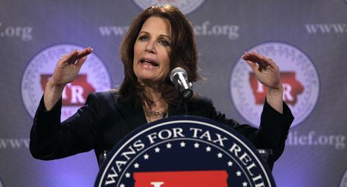 U.S. Rep. Michele Bachmann, R-Minn., a leader of the Tea Party Caucus, speaks at a reception by the Iowans for Tax Relief, Jan. 21, 2011. (AP)