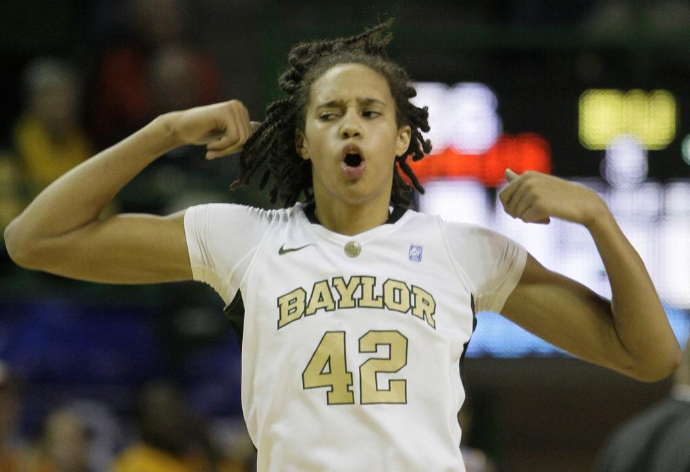 Baylor center Brittney Griner celebrates during the second half of a game against Tennessee. She hopes to still be celebrating at the end of March Madness. (AP)
