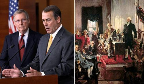Senate Minority Leader Mitch McConnnell and Incoming House Speaker John Boehner (AP); scene at the signing of the U. S. Constitution in 1787.