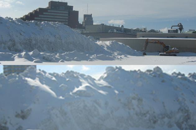 Cambridge's snow farm features a massive, almost 40-foot, mountain of snow. (Adam Ragusea/WBUR; composite by Jeremy Bernfeld for WBUR)