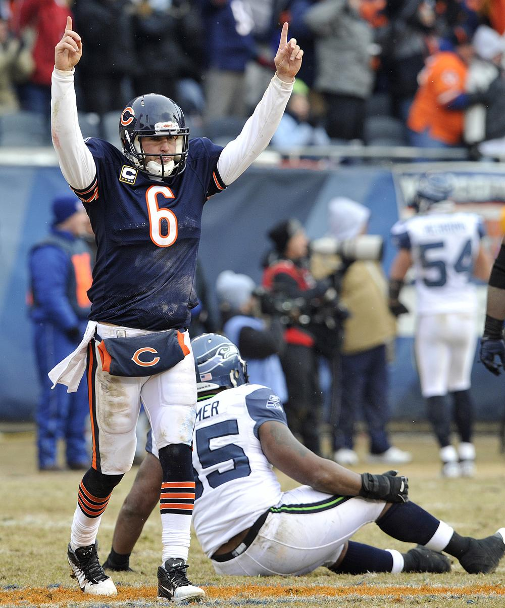 After finishing the Seahawks, Jay Cutler and the Chicago Bears look forward to meeting their division rivals, the Green Bay Packers, on Sunday. (AP)