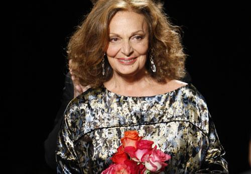 Diane von Furstenberg is greeted with applause after showing her fall 2010 collection, Feb. 14, 2010, during Fashion Week in New York. (AP)