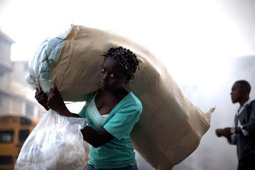 A woman in downtown Port-au-Prince, Haiti,  Jan 5, 2011. (AP)