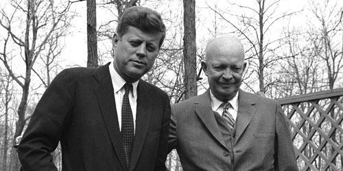 President John Kennedy and former President Dwight Eisenhower at Camp David in Maryland, April 22, 1961, where the two met to discuss Cuba. (AP Photo)
