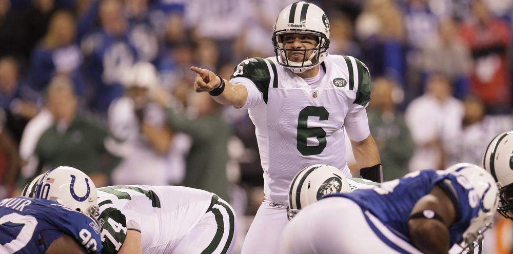 New York Jets quarterback Mark Sanchez in action during the second quarter of the AFC wild card game against the Indianapolis Colts. (AP Photo/Nam Y. Huh)
