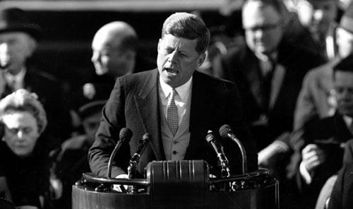President John F. Kennedy delivers his inaugural address, Jan. 20, 1961. (AP)