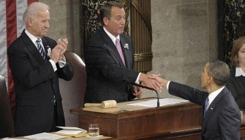 House Speaker John Boehner of Ohio shakes hands with President Barack Obama on Capitol Hill , Jan. 25, 2011. Vice President Joe Biden is at left. (AP)
