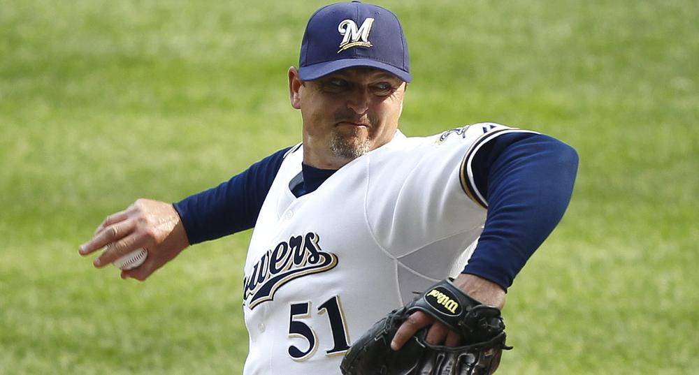 Milwaukee Brewers reliever Trevor Hoffman pitching against the Pittsburgh Pirates. (AP Photo/Jeffrey Phelps)