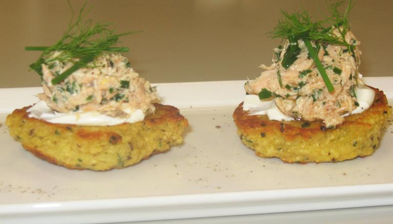 Caraway-Matzo Cakes with Fromage Blanc & Smokes Fish (Bagel & Lox) from Russell House Tavern (Jeremy Bernfeld for WBUR)