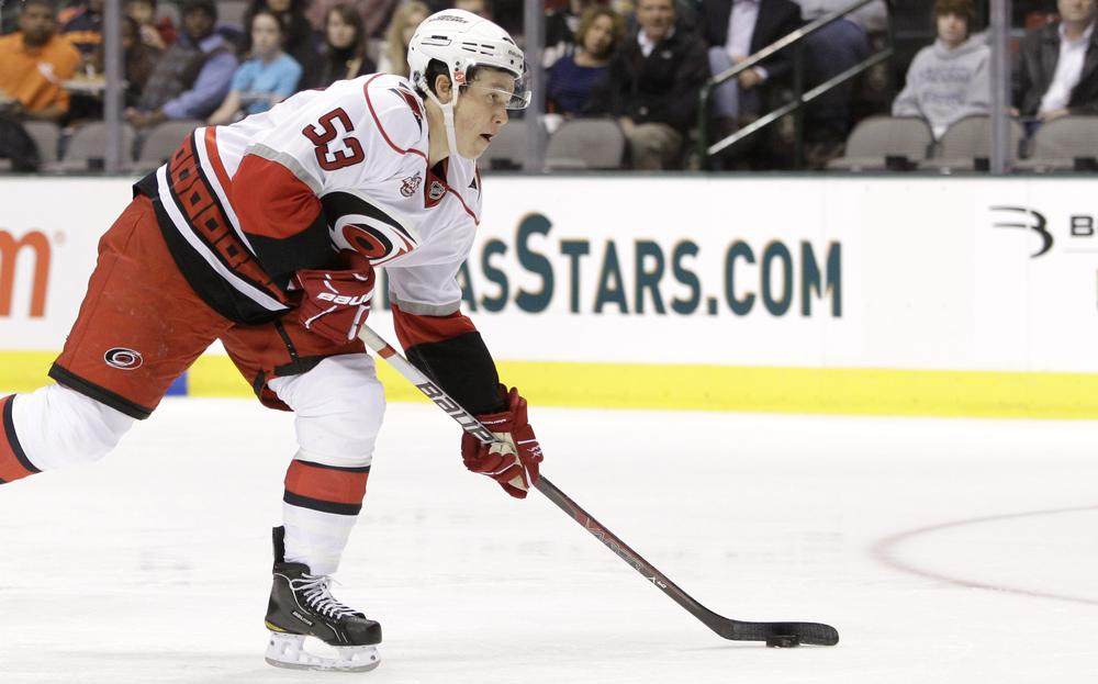 Jeff Skinner's 18 goals and 40 points are keeping the Carolina Hurricanes' playoff hopes alive (AP)