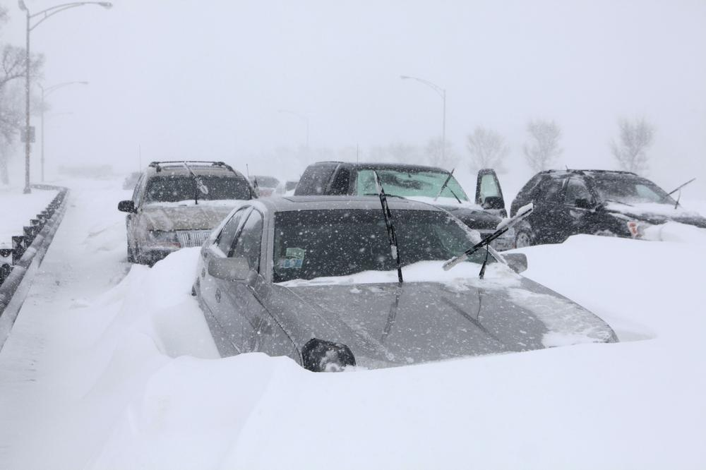Hundreds of cars are seen stranded on Lake Shore Drive in Chicago. (AP)