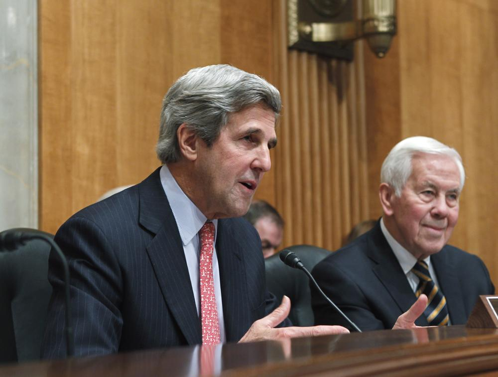 Kerry, D-Mass., left, accompanied by the committee's ranking Republican Sen. Richard Lugar, R-Ind., makes a statement on the crisis in Egypt on Capitol Hill in Washington. (AP)