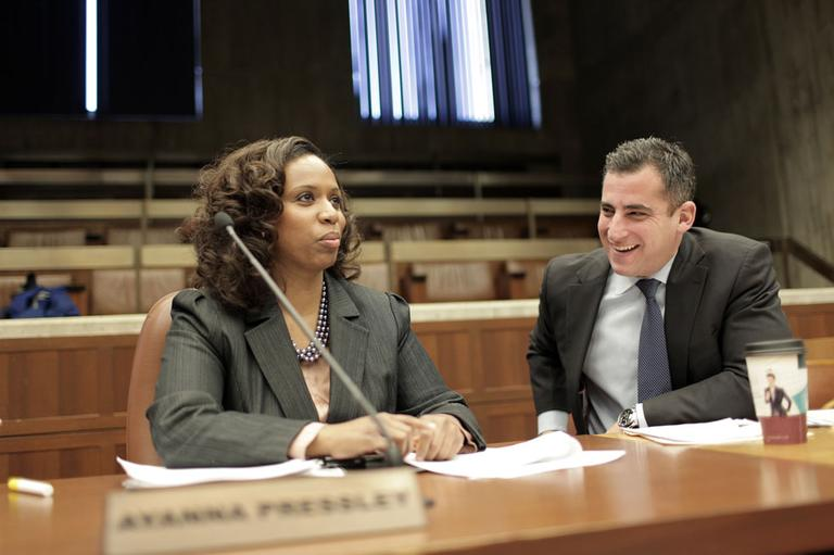 City Councilors Ayanna Pressley and Michael Ross at a recent meeting (Nick Dynan for WBUR)