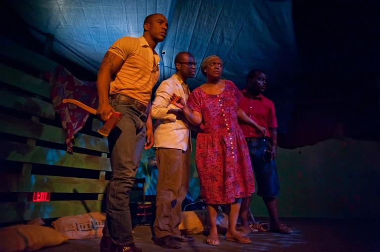 """From left, Hampton Sterling Fluker, Cedric Lilly, Sonya Raye and Kervin George Germain in """"Ti-Jean & His Brothers"""" at Central Square Theater (Courtesy of A.R. Sinclair/Central Square Theater)"""