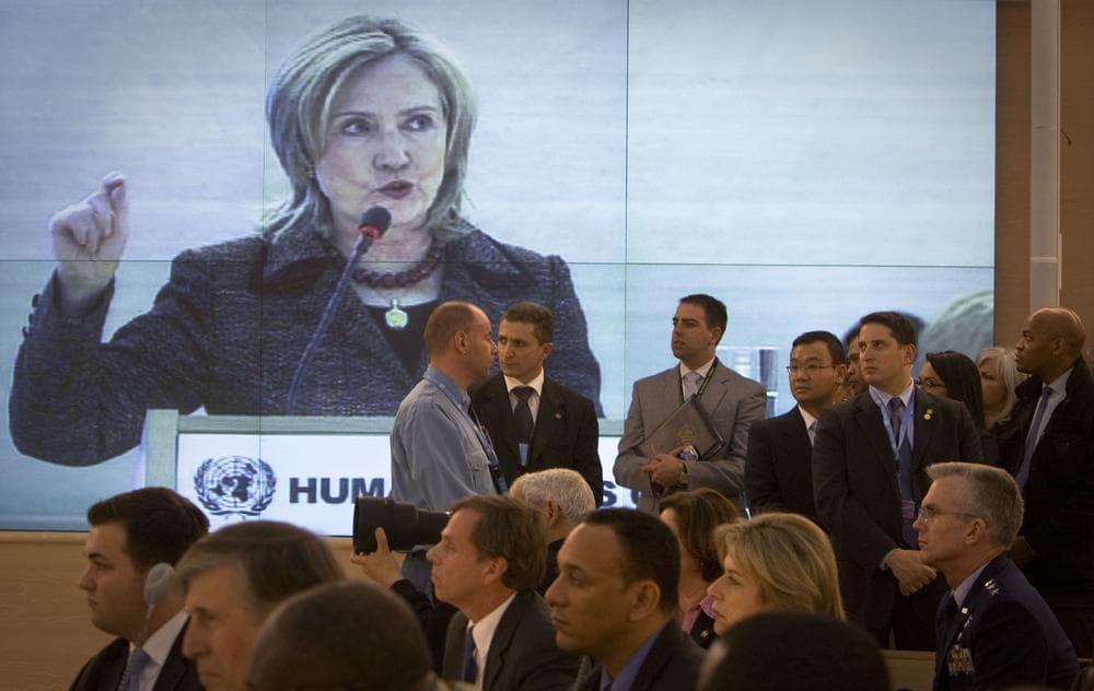 Human Rights council members follow a speech by U.S. Secretary of State Hillary Rodham Clinton,at the Human Rights Council in Geneva, Switzerland. (AP )