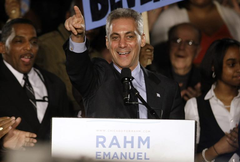 Mayor-elect, and former White House Chief of Staff, Rahm Emanuel speaks at his election night party Tuesday, Feb. 22, in Chicago. (AP)