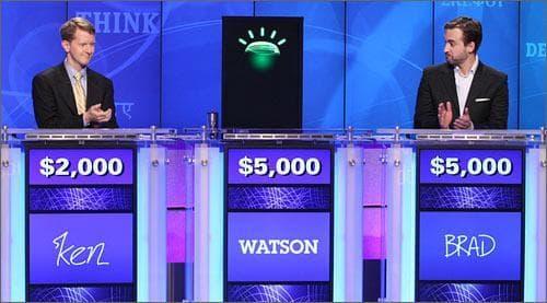 Watson on Jeopardy with contestants Ken Jennings, left, and Brad Rutter. (AP)