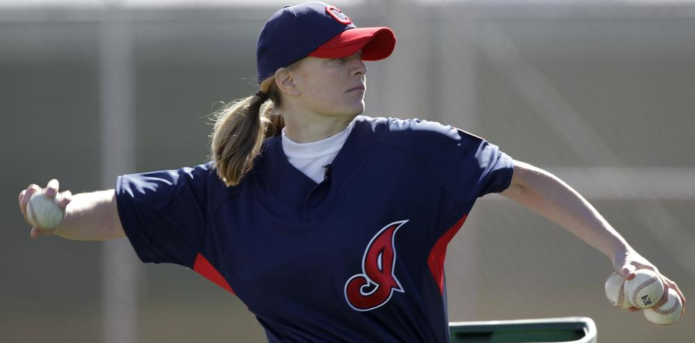 Justine Siegal became the first woman to throw batting practice to a Major League Baseball team when she pitched to the Cleveland Indians (AP).