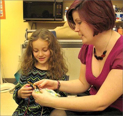Teacher and next generation knitter at Chestnut Hill School. (Photo: Kate Osborn)