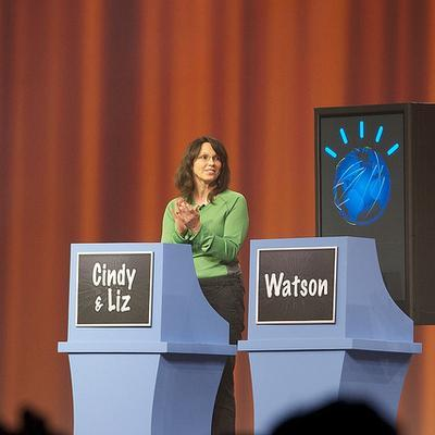 Watson and competitors during a Jeopardy! training round