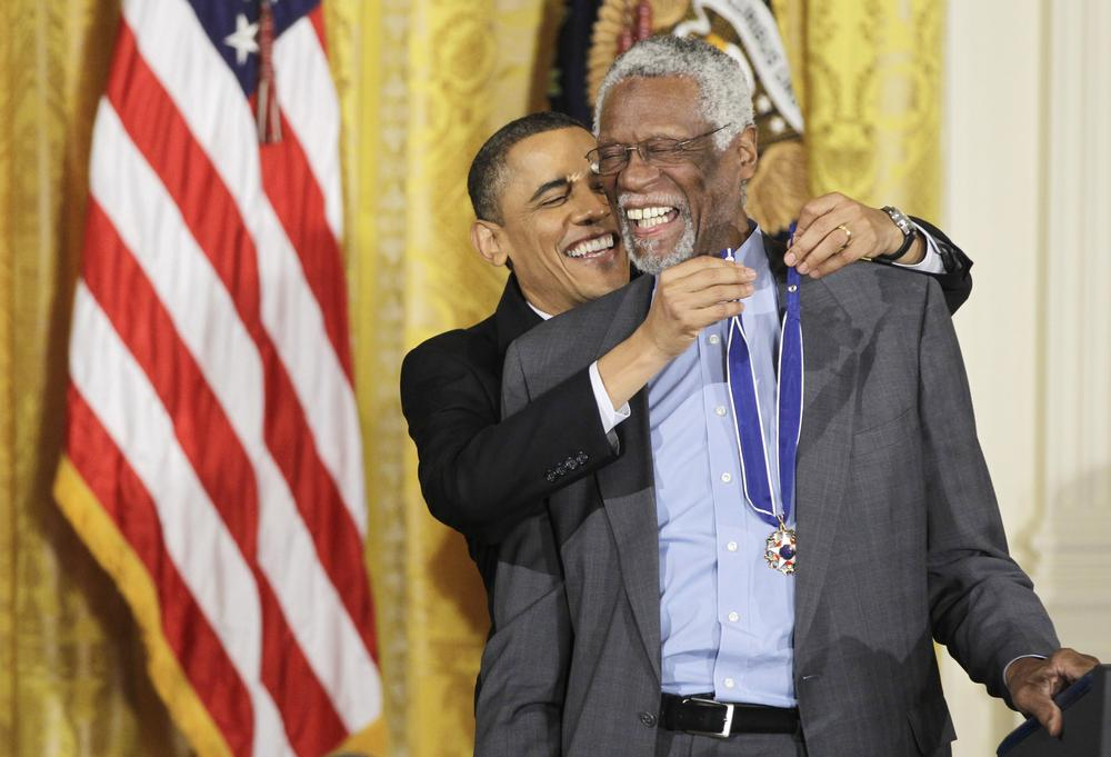President Obama presented Basketball Hall of Fame member Bill Russell with a Presidential Medal of Freedom on Feb. 15. (AP)