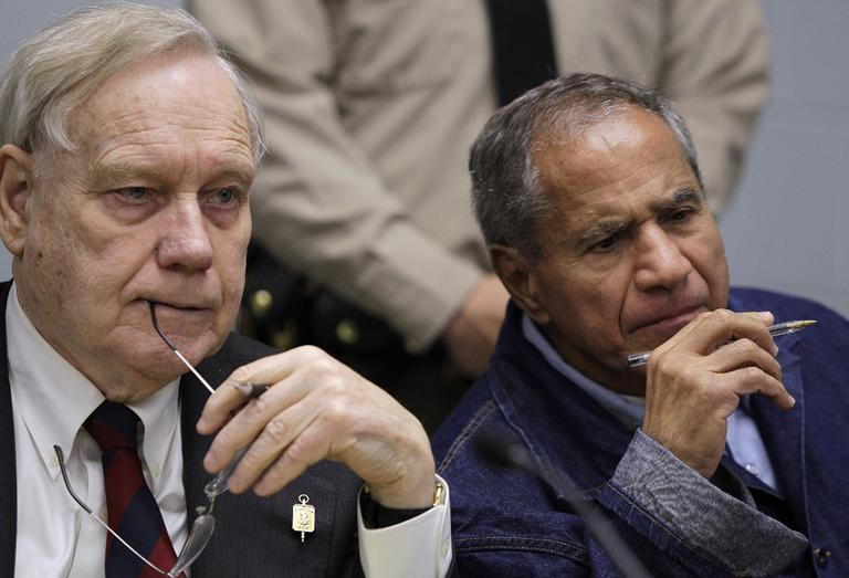Sirhan Sirhan, right, now age 66, is seen beside his attorney, William Pepper, during a Board of Parole Suitability Hearing Wednesday, March 2, 2011, at the Pleasant Valley State Prison in Coalinga, Calif. (AP)