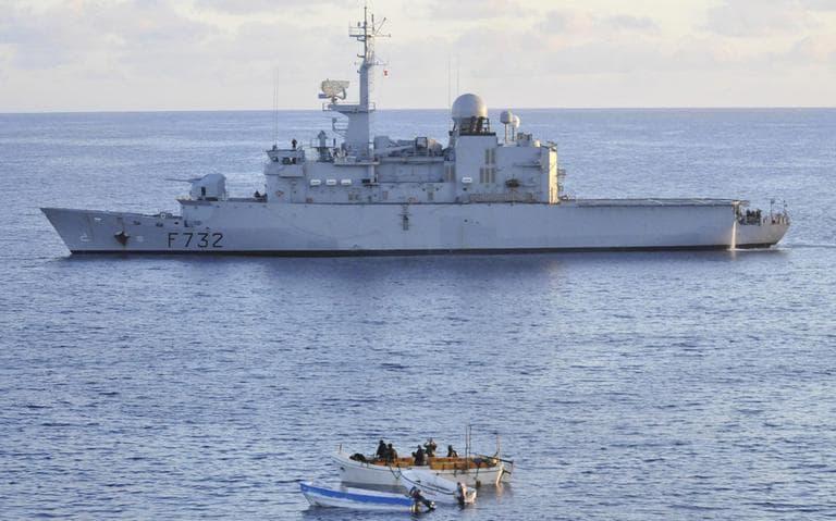 French warship FS Nivose with Somali pirate skiffs off the Somali coast on Friday March 5, 2010. (AP /EU NAVFOR)