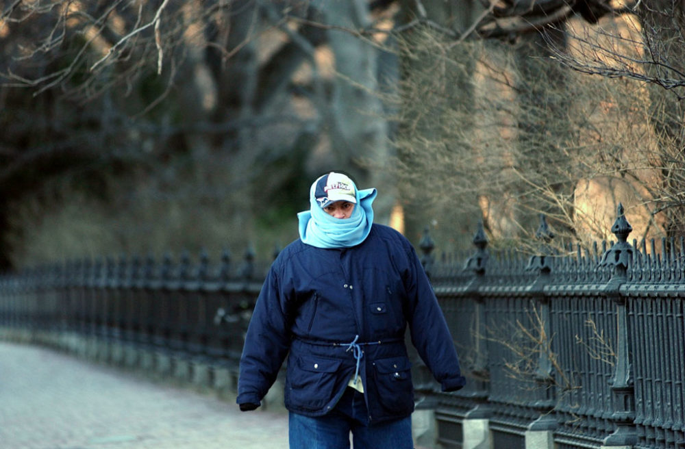 Jose Meledes was all bundled up walking by the Public Garden in this 2004 file photo. (Chitose Suzuki/AP)