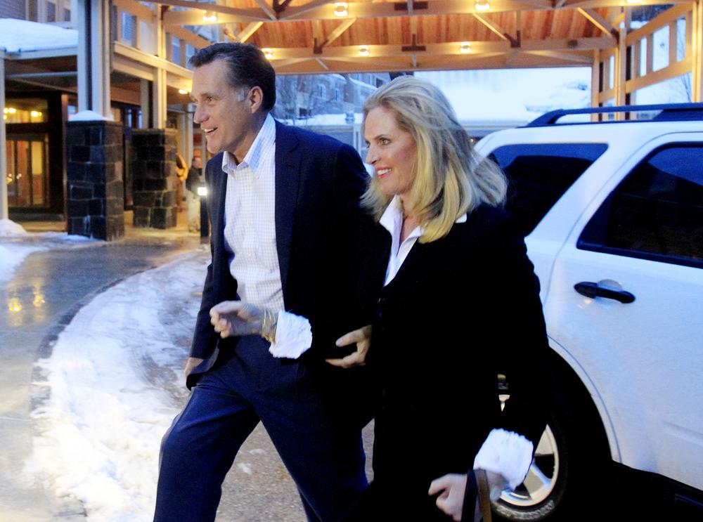 Former Massachusetts Gov. Mitt Romney and his wife, Ann, arrive at the Carroll County Republican Committee Lincoln Day Dinner on Saturday in Bartlett, N.H. Romney was the keynote speaker. (AP)